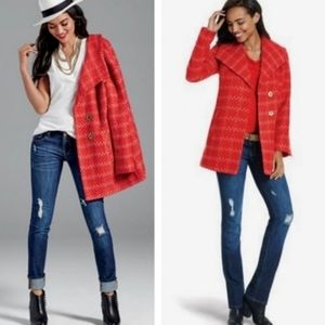 Cabi Coat Jacket Red Pink Tweed Style # 3031